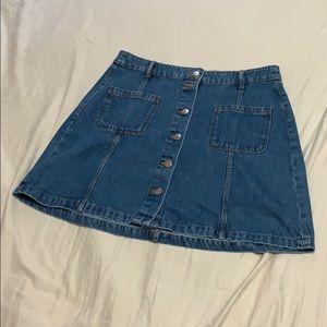Bottom Front Denim Skirt